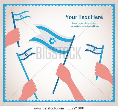 Happy Israeli independence day. hand holding a flag.