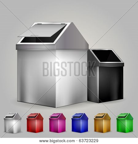 Illustration of dustbins
