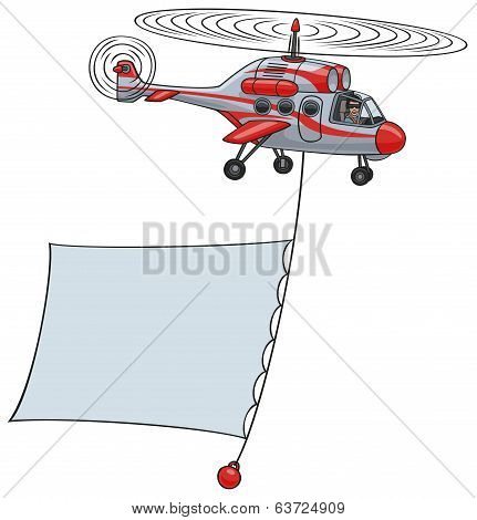 Helicopter with banner.