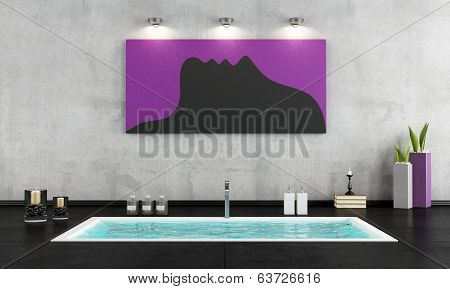 Minimalist Bathroom With Sunken Bath