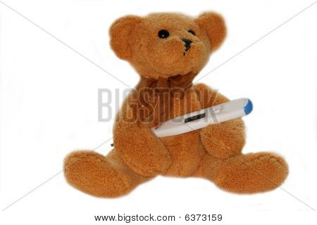 Bear With Thermometer. Concept Of Baby Illness