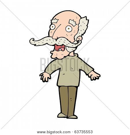 cartoon old man gasping in surprise poster