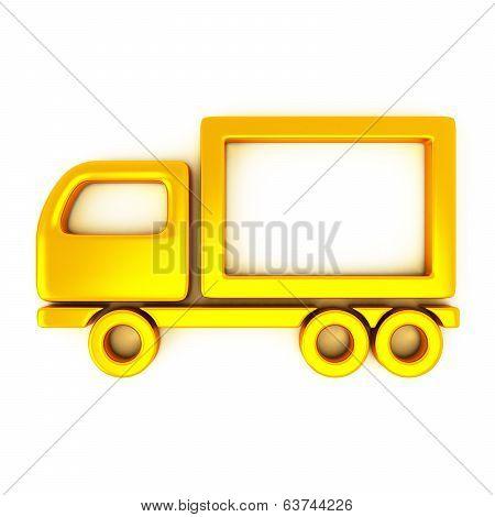 Golden truck icon, 3d