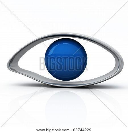 Blue eye icon ,3d