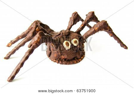 Chocolate Homemade Spider Isolated On White Background