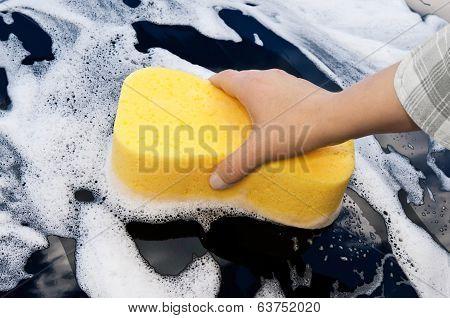 washing a car by hand