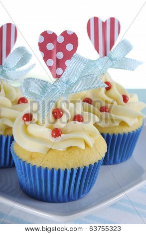 Happy Fathers Day Bright And Cheery Red White And Blue Decorated Cupcakes With Heart Toppers And Gif