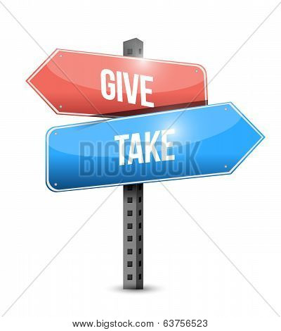 Give And Take Sign Illustration Design