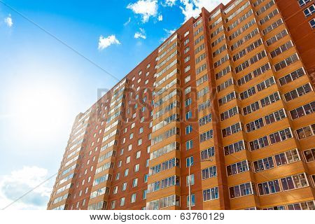 Modern building wall, red and yellow perspective view