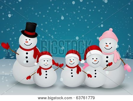 snowman family in Christmas winter scene with sign