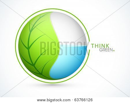 World Environment Day concept with green leaf and water inside in a globe on grey background with text Think Green.