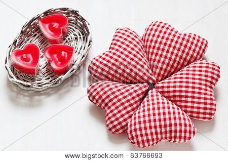 Red Valentine's Hearts With Candes In A White Basket