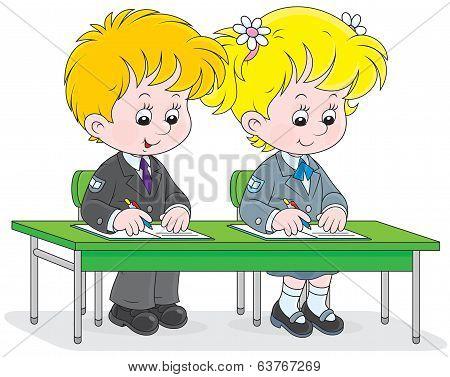 Schoolchildren writing