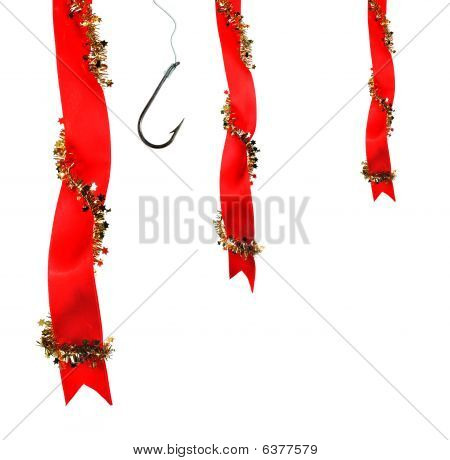 Christmas Decoration With Ribbons And Fishing Hoo