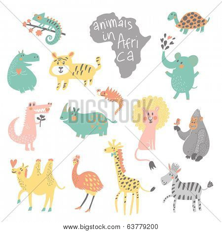 Cute childish set. African animals: iguana, turtle, elephant, tiger, hippopotamus, crocodile, rhinoceros, lion, gorilla, camel, ostrich, giraffe, zebra in vector. Funny cartoon animals