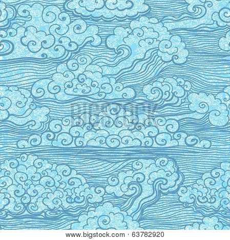 Seamless pattern of blue sky with clouds. EPS10