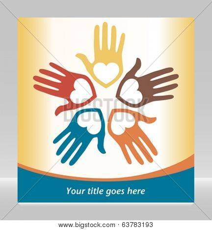 Circle of loving hands with copy space vector.