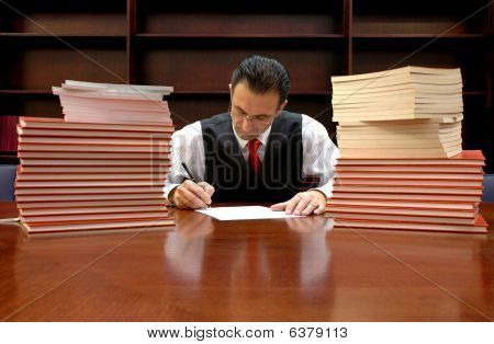 lawyer is signing the contract