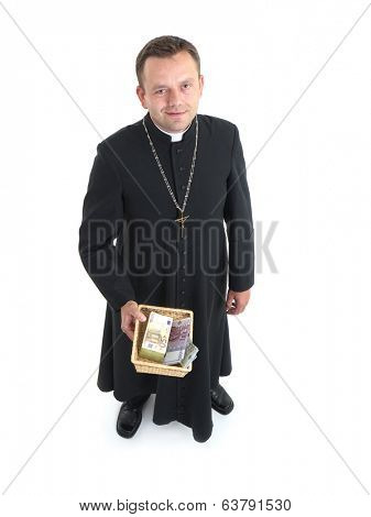 Catholic priest with collection plate full of euro banknotes