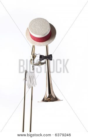 Trombone Hat Gloves Isolated On White