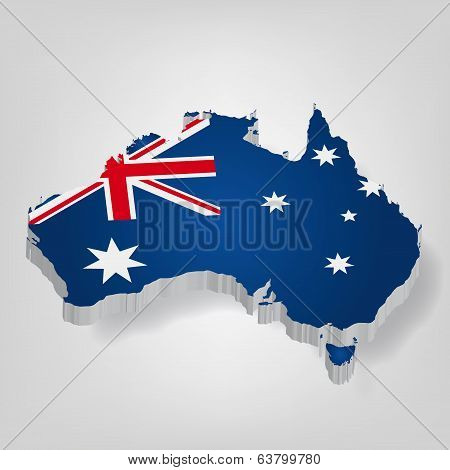 3D vector flag map of Australia. Blue