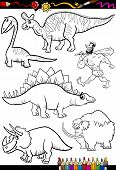 Coloring Book or Page Cartoon Illustration Set of Black and White Dinosaurs and Prehistoric Animals Characters for Children poster