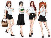 Thai college student in various uniform collection set create by vector poster