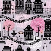 Seamless pattern with fairy tale houses lanterns silhouettes trees. City endless background. Ready to use as swatch. poster