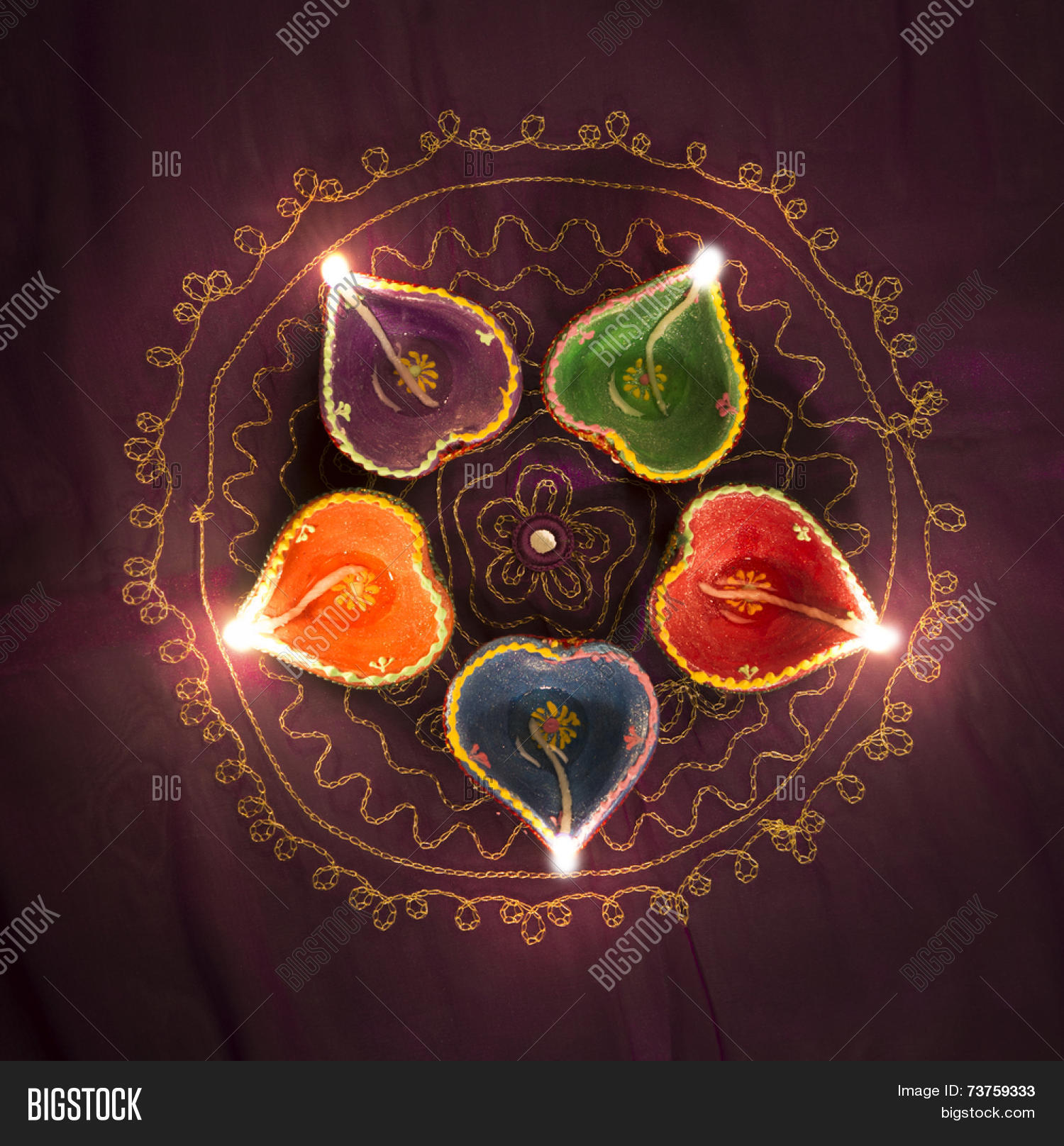 Charming A Group Of Decorative Indian Diwali Lamps   Top View.