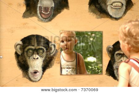 Child And Apes.