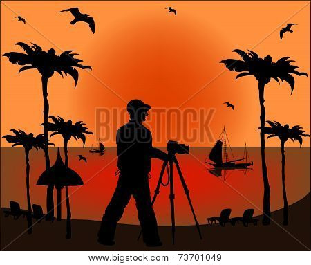 Photographer Shooting At Sunset