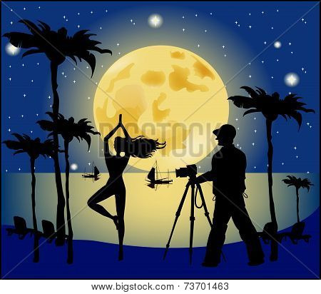 Silhouettes Of Photographer And Model