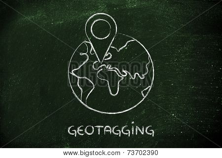 Funny Globe With Geotaging Design