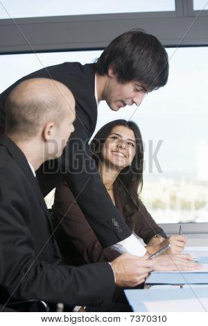 Business team of three people