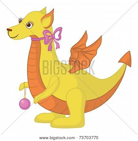 Symbol of East New Year dragon with holiday glass ball. Vector poster
