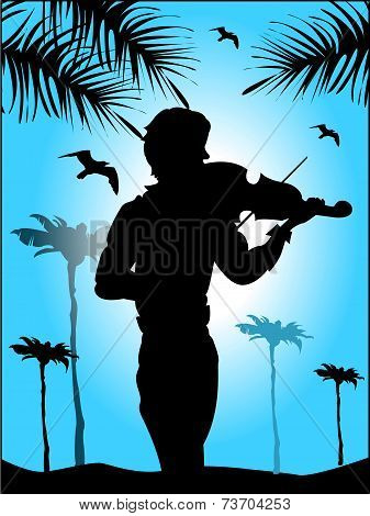 Silhouette Of Violinist On Blue Sky Background