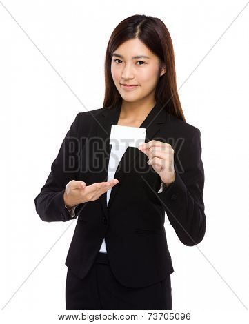 Businesswoman present with namecard
