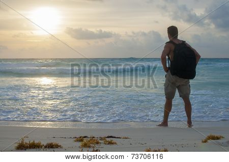 Hiking Beach At Sunrise