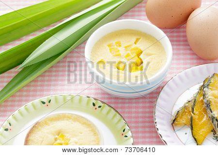 Thai Dessert,  Steamed Custard In a Bowl With Ingredient.