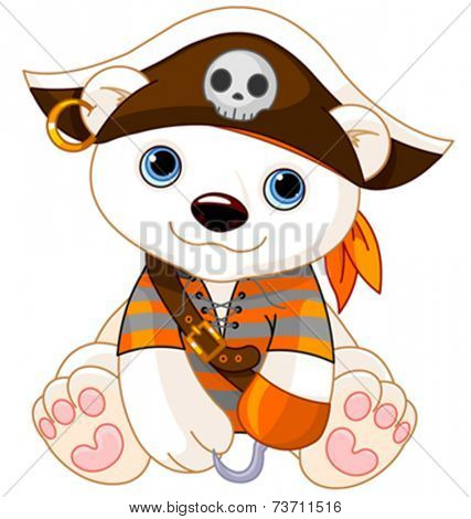 Polar Bear dressed-up like pirate for Halloween