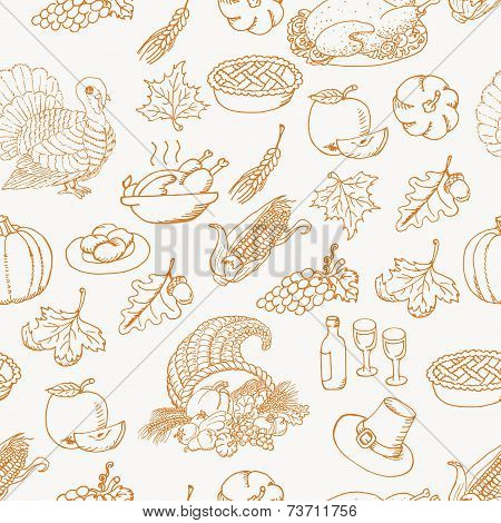 Thanksgiving seamless pattern sketch doodle on white background. Vector illustration