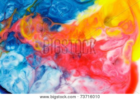 Food Coloring On Milk Abstract Background