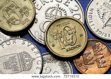 Coins of Sweden. Swedish ten kronor coin.