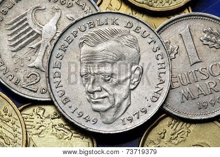 Coins of Germany. German social democratic politician Kurt Schumacher depicted in the old Deutsche Mark coin. poster
