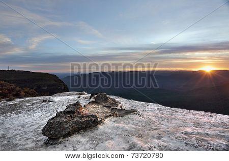 Sunset Wentworth Falls Blue Mountains Australia