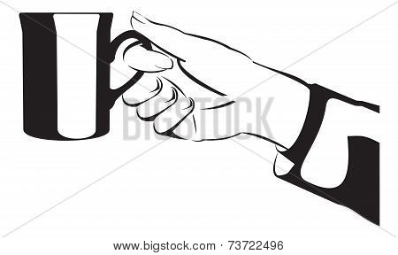 Silhouette hand with mug or cup - vector illustration