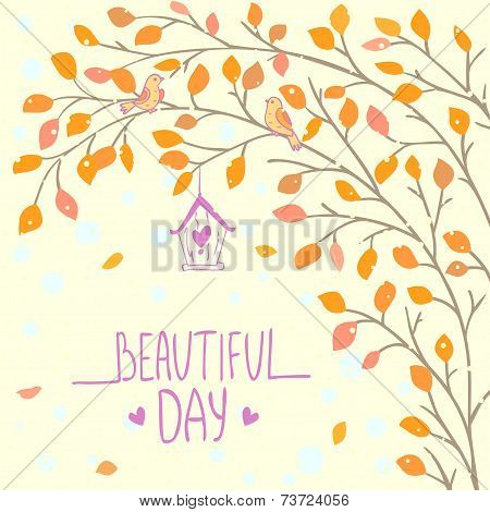 stylish card with beautiful tree branch with cute bird poster