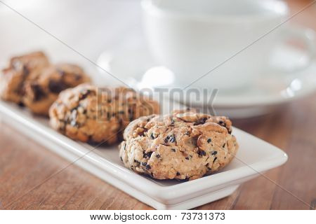 Closeup Healthy Cookies With Coffee Cup