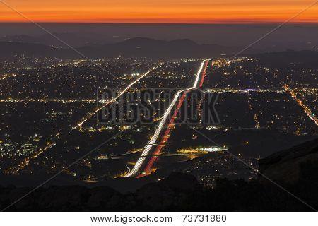 Night fall over suburban Simi Valley near Los Angeles, California.