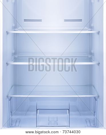 Empty open fridge with shelves, refrigerator.